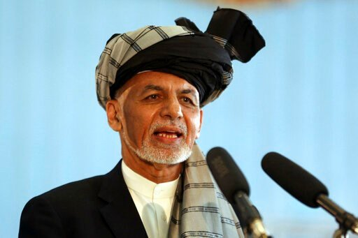 (AP Photo/Rahmat Gul, File). FILE - In this Sept. 28, 2019, file photo, Afghan President Ashraf Ghani speaks to journalists after voting at Amani high school, near the presidential palace in Kabul, Afghanistan. President Ghani said Tuesday, Nov. 12, hi...