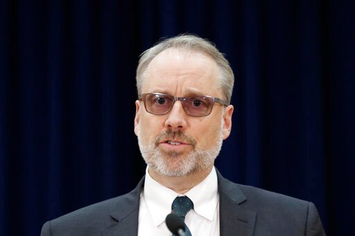 (AP Photo/Lee Jin-man, Pool). James DeHart, U.S. Department of State's a senior advisor for security negotiations and agreements bureau of political-military affairs, speaks after a meeting with South Korean counterpart on the Special Measures Agreemen...