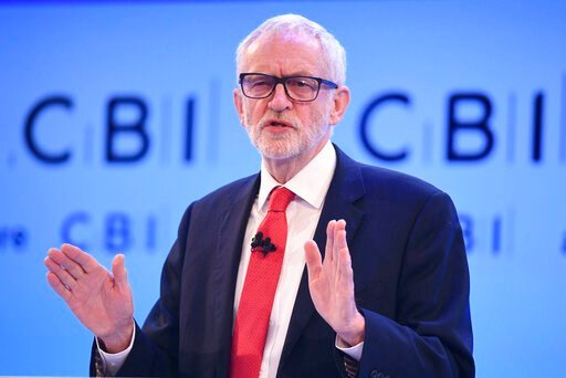 (Stefan Rousseau/PA via AP). Labour leader Jeremy Corbyn speaks at the Confederation of British Industry (CBI) annual conference at the InterContinental Hotel in London, Monday, Nov. 18, 2019. The leaders of Britain's three biggest national political p...