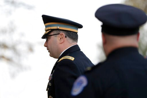 (AP Photo/Julio Cortez). Lt. Col. Alexander Vindman arrives to testify before the House Intelligence Committee on Capitol Hill in Washington, Tuesday, Nov. 19, 2019, during a public impeachment hearing of President Donald Trump's efforts to tie U.S. ai...