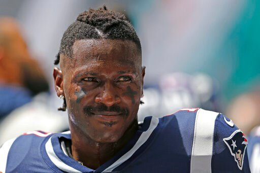 (David Santiago/Miami Herald via AP, File). FILE - In this Sept. 15, 2019, file photo, then-New England Patriots wide receiver Antonio Brown looks on before the start of an NFL football game against the Miami Dolphins at Hard Rock Stadium in Miami Gard...