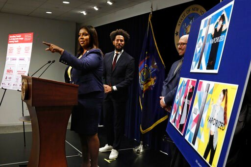 (AP Photo/Richard Drew). New York State Attorney General Letitia James speaks during a news conference at her office in New York, Tuesday, Nov. 19, 2019. New York has joined the ranks of states suing the nation's biggest e-cigarette maker, San Francisc...