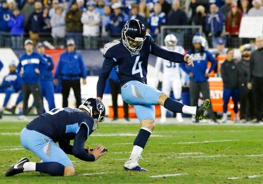 (AP Photo/James Kenney, File). FILE - In this Sunday, Dec. 30, 2018 file photo, Tennessee Titans kicker Ryan Succop (4) kicks a 38-yard field goal against the Indianapolis Colts in the first half of an NFL football game in Nashville, Tenn. The Titans a...