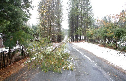 (Elias Funez/The Union via AP). In this Wednesday, Nov. 27, 2019 photo, small limbs block a portion of Sky Pines Road in Alta Sierra, in Grass Valley, Calif. There were many calls for downed lines, limbs, and even trees that fell into structures during...