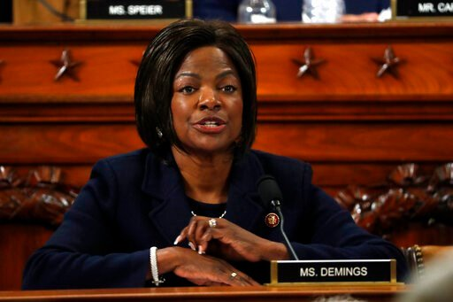 (AP Photo/Jacquelyn Martin, Pool). Rep. Val Demings, D-Fla., questions Jennifer Williams, an aide to Vice President Mike Pence, and National Security Council aide Lt. Col. Alexander Vindman, as they testify before the House Intelligence Committee on Ca...