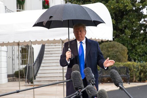 (AP Photo/Alex Brandon). President Donald Trump speaks with reporters on the South Lawn of the White House before departing, Monday, Dec. 2, 2019, in Washington.