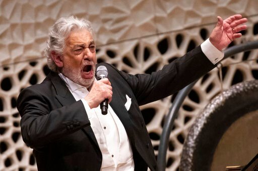 (Christian Charisius/dpa via AP). Opera star Placido Domingo performs during a concert at the Elbphilharmonie in Hamburg on Wednesday, No. 27, 2019.