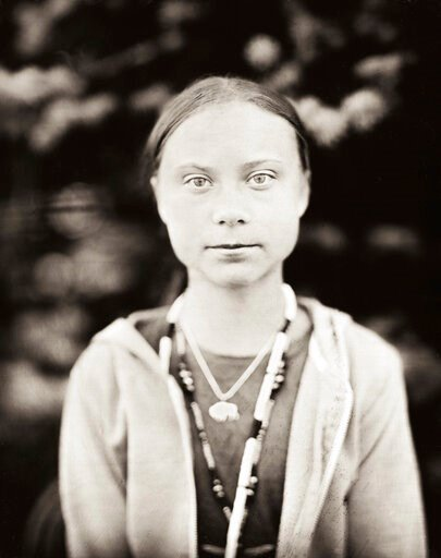 (Shane Balkowitsch via AP). This Oct. 8, 2019 photo provided by Shane Balkowitsch shows climate activist Greta Thunberg visiting the Standing Rock Sioux Reservation in Fort Yates, N.D. Thunberg accepted the photographer's request to pose for the photo ...