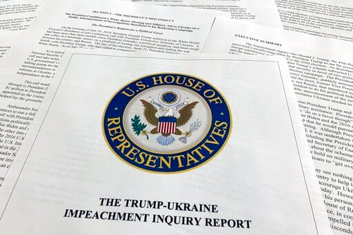 (AP Photo/Jon Elswick). The report from Democrats on the House Intelligence Committee on the impeachment inquiry into President Donald Trump is photographed in Washington, Tuesday, Dec. 3, 2019. The House released a sweeping impeachment report outlinin...