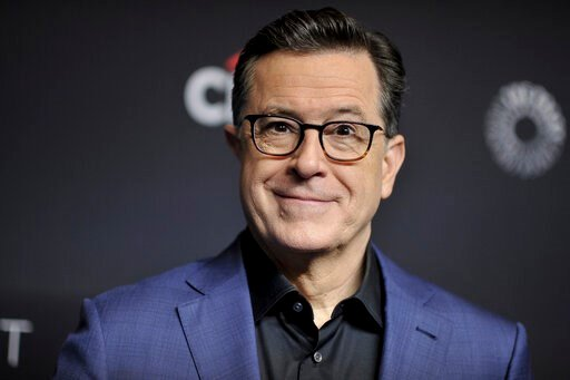 "(Photo by Richard Shotwell/Invision/AP, File). FILE - In this March 16, 2019, file photo, Stephen Colbert attends the 36th Annual PaleyFest ""An Evening with Stephen Colbert"" at the Dolby Theatre on Saturday, March 16, 2019, in Los Angeles. Now Prime Mi..."