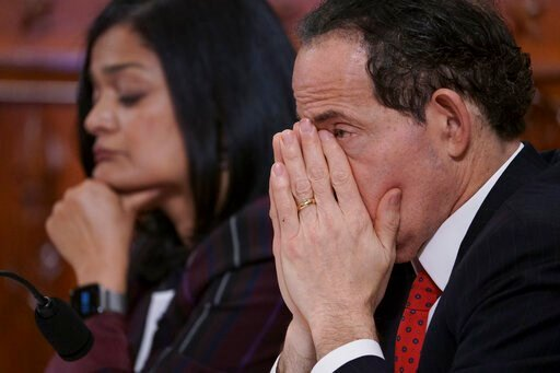 (AP Photo/J. Scott Applewhite). Rep. Jamie Raskin, D-Md., joined at left by Rep. Pramila Jayapal, D-Wash., listens to testimony from legal scholars during a House Judiciary Committee hearing on the constitutional grounds for the impeachment of Presiden...