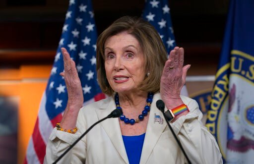 (AP Photo/J. Scott Applewhite). Speaker of the House Nancy Pelosi, D-Calif., talks to reporters as the House Intelligence Committee holds public impeachment hearings of President Donald Trump's efforts to tie U.S. aid for Ukraine to investigations of h...