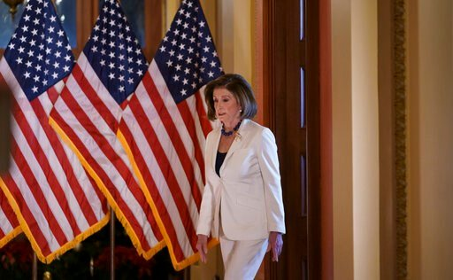 (AP Photo/J. Scott Applewhite). Speaker of the House Nancy Pelosi, D-Calif., arrives to make a statement at the Capitol in Washington, Thursday, Dec. 5, 2019.  Pelosi announced that the House is moving forward to draft articles of impeachment against P...