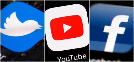 (AP Photos/File). This combination of images shows logos for companies from left, Twitter, YouTube and Facebook. Social media companies are failing to stop manipulated activity, according to a report Friday, Dec. 6, 2019 by NATO-affiliated researchers ...
