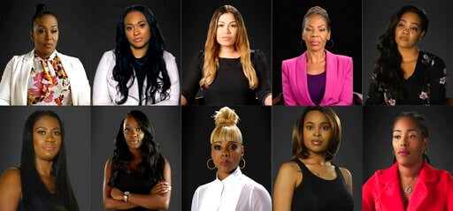 "(Lifetime via AP). This combination of photos provided by Lifetime shows, top row from left, Michelle Kramer, Lisa VanAllen, Lizzette Martinez, Andrea Kelly and Kitti Jones, bottom row from left, Asante McGee, Faith Rodgers, Stephanie ""Sparkle"" Edwards..."
