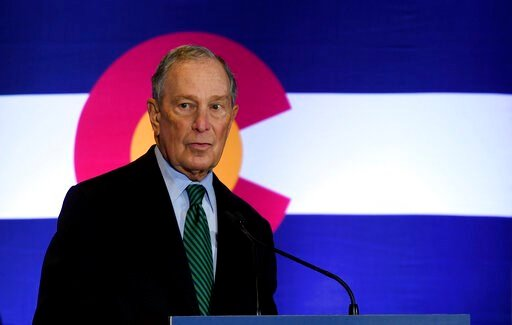 (AP Photo/Thomas Peipert). Democratic presidential contender Michael Bloomberg speaks to gun control advocates and victims of gun violence in Aurora, Colo., on Thursday, Dec. 5, 2019. The billionaire former New York City mayor unveiled a gun control po...