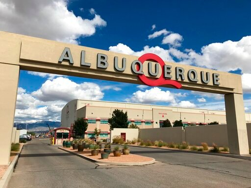 (AP Photo/Susan Montoya Bryan, File). FILE - This Oct. 8, 2018, file photo shows the entrance to ABQ Studios in Albuquerque, N.M., where Netflix announced at the studio complex that it chose Albuquerque as a new production hub. An executive with Netfli...