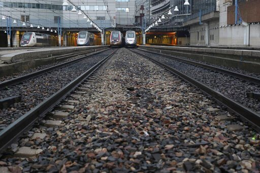 (AP Photo/Thibault Camus). High-speed trains park at the Gare Montparnasse train station, Friday, Dec. 6, 2019 in Paris. Frustrated travelers are meeting transportation chaos around France for a second day, as unions dig in for what they hope is a prot...