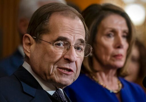 (AP Photo/J. Scott Applewhite, File). FILE - In this March 7, 2019, file photo, House Judiciary Committee Chairman Jerrold Nadler, D-N.Y., and Speaker of the House Nancy Pelosi, D-Calif., speak to reporters at the Capitol in Washington. The House Judic...