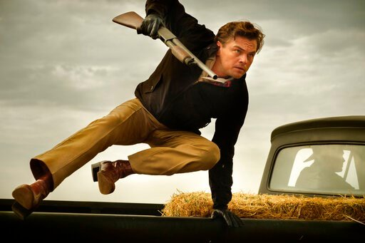 "(Andrew Cooper/Sony-Columbia Pictures via AP). This image released by Sony Pictures shows Leonardo DiCaprio in Quentin Tarantino's ""Once Upon a Time ... in Hollywood."""