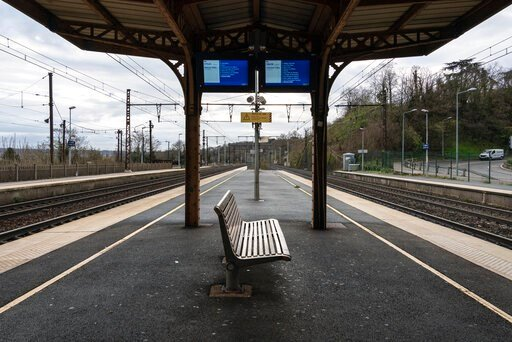 (AP Photo/Laurent Cipriani). An empty platform is pictured during a railway strike at the Saint Germain au Mont d'Or train station, around Lyon, central France, Monday, Dec. 9, 2019. French commuters inched to work Monday through exceptional traffic ja...