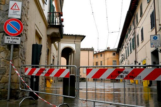 (Claudio Giovannini/ANSA via AP). An area is sealed off as a crack is seen along the portico of San Silvestro church in Barberino del Mugello, north of Florence, Italy, Monday, Dec. 9, 2019, after an earthquake struck Tuscany early Monday. Mayors of to...