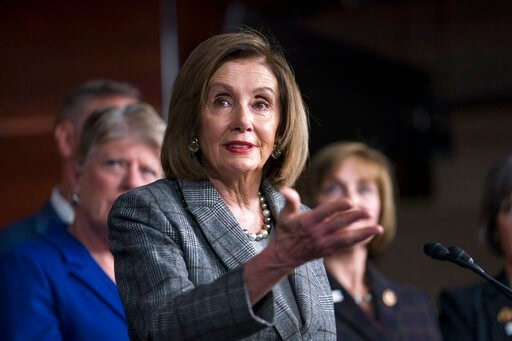 (AP Photo/J. Scott Applewhite). Speaker of the House Nancy Pelosi, D-Calif., discusses her recent visit to the UN Climate Change Conference in Madrid, Spain, during a news conference with the congressional delegation to that summit, at the Capitol in W...
