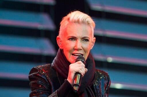 (Suvad Mrkonjic / TT via AP). FILE - In this file photo dated July 18, 2015, Marie Fredriksson, singer of the pop duo Roxette.  Fredriksson has died, aged 61 after a long illness, according to an announcement Tuesday Dec. 10, 2019.
