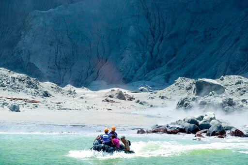 (Michael Schade via AP). This Monday, Dec. 9, 2019, photo provided by Michael Schade shows the rescuers' boat leaving White Island following the eruption of the volcano, New Zealand. Officials say on Tuesday, Dec. 10, 2019, 47 people from New Zealand, ...