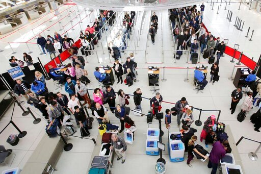(AP Photo/Mark Lennihan, File). File-This Oct. 30, 2014 file photo, passengers line up to pass through security before boarding flights at John F. Kennedy International Airport in New York. Airlines are looking forward to another big Christmas and New ...