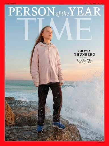 "(Time via AP). This photo provided by Time magazine shows Greta Thunberg, who has been named Time's youngest ""person of the year"" on Wednesday, Dec. 11, 2019.   The media franchise said Wednesday on its website that Thunberg is being honored for work t..."