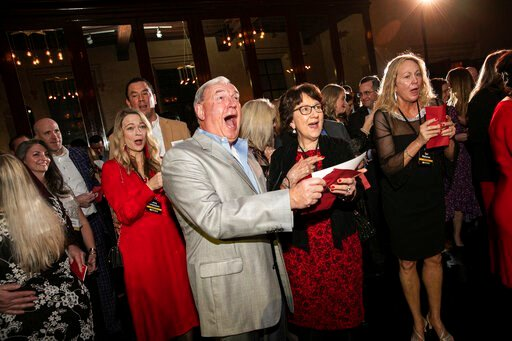 (Wendy Hickok Photography via AP). In this image released by St. John Properties, employees of the Maryland real estate firm react after finding out the company is surprising them with $10 million in bonuses at a holiday party, Saturday, Dec. 7, 2019, ...