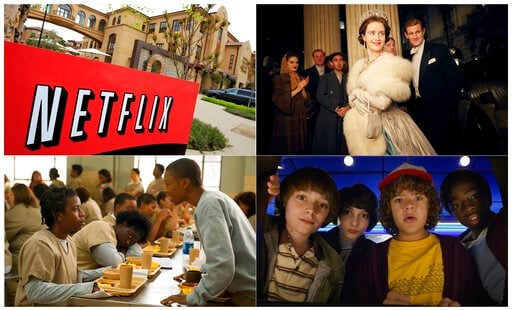 "(AP Photo, top left, and Netflix via AP). This combination photo shows, clockwise from top left, Netflix headquarters in Los Gatos, Calif., Claire Foy and Matt Smith in a scene from ""The Crown,"" Noah Schnapp, Finn Wolfhard, Gaten Matarazzo and Caleb Mc..."