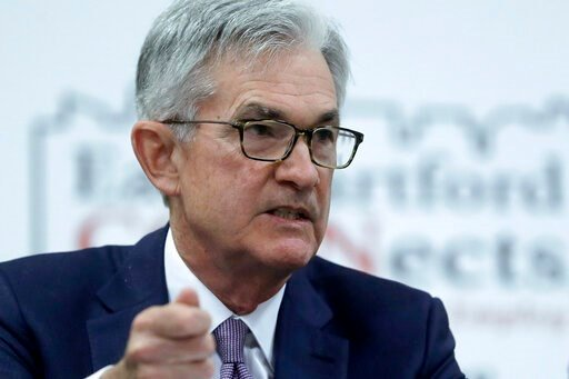 (AP Photo/Steven Senne). FILE - In this Nov. 25, 2019, file photo Federal Reserve Board Chair Jerome Powell addresses a round table discussion during a visit to Silver Lane Elementary School, in East Hartford, Conn. On Wednesday, Dec. 11, the Federal R...