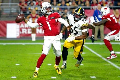 (AP Photo/Rick Scuteri). Arizona Cardinals quarterback Kyler Murray (1) throws as Pittsburgh Steelers linebacker Devin Bush pursues during the first half of an NFL football game, Sunday, Dec. 8, 2019, in Glendale, Ariz.