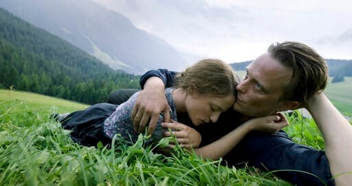 """(Reiner Bajo/Fox Searchlight Pictures via AP). This image released by Fox Searchlight Pictures shows Valerie Pachner, left, and August Diehl in a scene from the film """"A Hidden Life."""""""