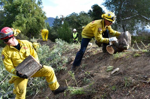 (AP Photo/Matthew Brown). A fire prevention crew hauls away sections of a tree they cut down Wednesday, Nov. 20, 2019, near Redwood Estates, Calif. Authorities are rushing to clear vegetation in high-risk communities after fires killed 149 people and d...