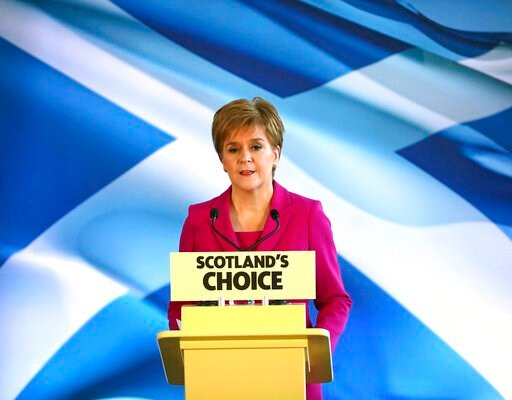 (Jane Barlow/PA via AP). Scottish First Minister Nicola Sturgeon speaks to supporters in Edinburgh, Scotland, Friday Dec. 13, 2019. Prime Minister Boris Johnson has led his Conservative Party to a landslide victory in Britain's election that was domina...