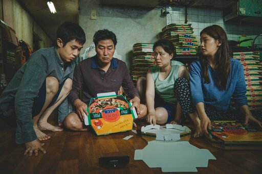 "(Neon via AP). This image released by Neon shows Woo-sik Choi, from left, Kang-ho Song, Hye-jin Jang and So-dam Park in a scene from ""Parasite."" Nominations to the 92nd Academy Awards will be announced on Monday, Jan. 13."
