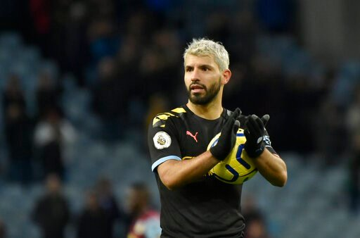 (AP Photo/Rui Vieira). Manchester City's Sergio Aguero applauds to supporters at the end of the English Premier League soccer match between Aston Villa and Manchester City at Villa Park in Birmingham, England, Sunday, Jan. 12, 2020. Manchester City won...