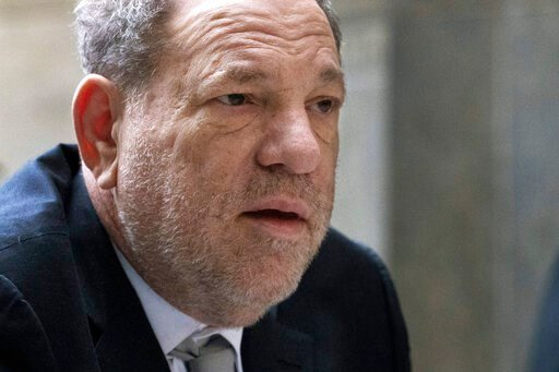 (AP Photo/Mark Lennihan). Harvey Weinstein arrives at a Manhattan courthouse for jury selection in his rape trial, Monday, Jan. 13, 2020, in New York.