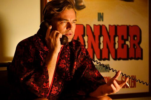 """(Andrew Cooper/Sony via AP). This image released by Sony Pictures shows Leonardo DiCaprio in a scene from """"Once Upon a Time in Hollywood."""" On Monday, Jan. 13, DiCaprio was nominated for an Oscar for best actor for his role in the film."""