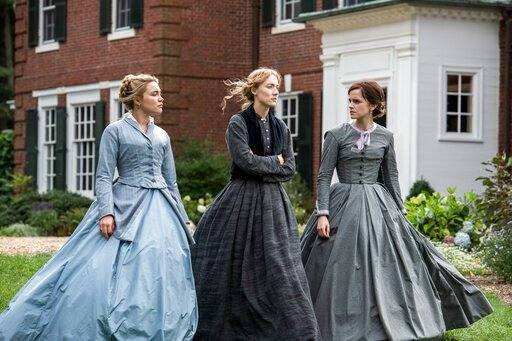 """(Wilson Webb/Sony Pictures via AP). This image released by Sony Pictures shows, from left, Florence Pugh, Saoirse Ronan and Emma Watson in a scene from """"Little Women."""" On Monday, Jan. 13, Ronan was nominated for an Oscar for best actress for her role i..."""