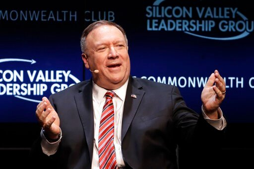 (AP Photo/Jeff Chiu). Secretary of State Mike Pompeo gestures while speaking at the Commonwealth Club in San Francisco, Monday, Jan. 13, 2020.