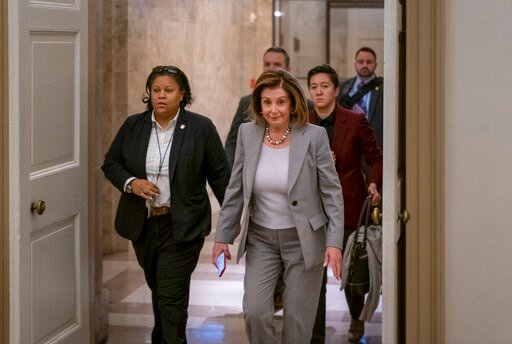 (AP Photo/J. Scott Applewhite). Speaker of the House Nancy Pelosi, D-Calif., arrives at the Capitol in Washington, Friday, Jan. 10, 2020. Pelosi hasn't relayed the articles of impeachment to the Senate for trial three weeks since President Donald Trump...