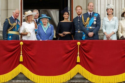(AP Photo/Matt Dunham, File). FILE - In this Tuesday, July 10, 2018 file photo, members of the royal family gather on the balcony of Buckingham Palace, with from left, Prince Charles, Camilla the Duchess of Cornwall, Prince Andrew, Queen Elizabeth II, ...