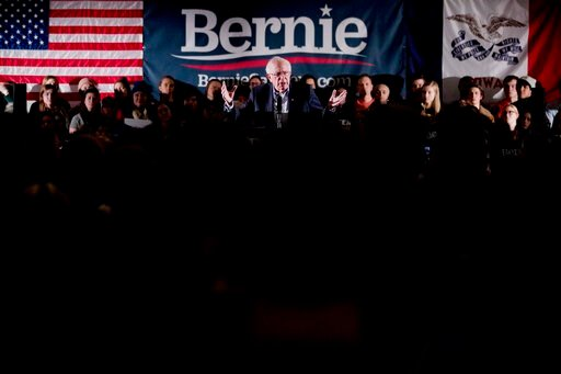 (AP Photo/Andrew Harnik). Democratic presidential candidate Sen. Bernie Sanders, I-Vt., speaks at a climate rally with the Sunrise Movement at The Graduate Hotel, Sunday, Jan. 12, 2020, in Iowa City, Iowa.