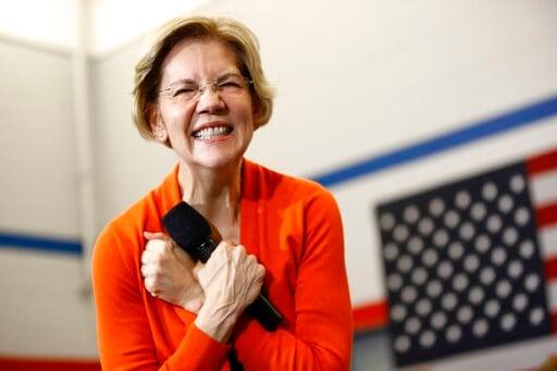 (AP Photo/Patrick Semansky). Democratic presidential candidate Sen. Elizabeth Warren, D-Mass., speaks during a campaign event, Sunday, Jan. 12, 2020, in Marshalltown, Iowa.