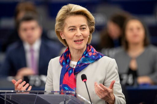 (AP Photo/Jean-Francois Badias). European Commission President Ursula von der Leyen delivers her speech at the European parliament Tuesday, Jan.14, 2020 in Strasbourg, eastern France. Croatian Prime Minister Andrej Plenkovic will present the priorities...