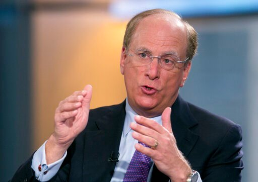 "(AP Photo/Mark Lennihan, File). FILE - In this March 26, 2014 file photo, BlackRock Chairman and CEO Laurence Fink is interviewed by Maria Bartiromo on Fox Business Network's ""Opening Bell with Maria Bartiromo,""  in New York. BlackRock, the world's lar..."